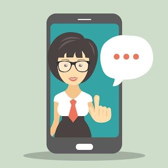 Bildschirm smartphone mit virtuellem assistenten