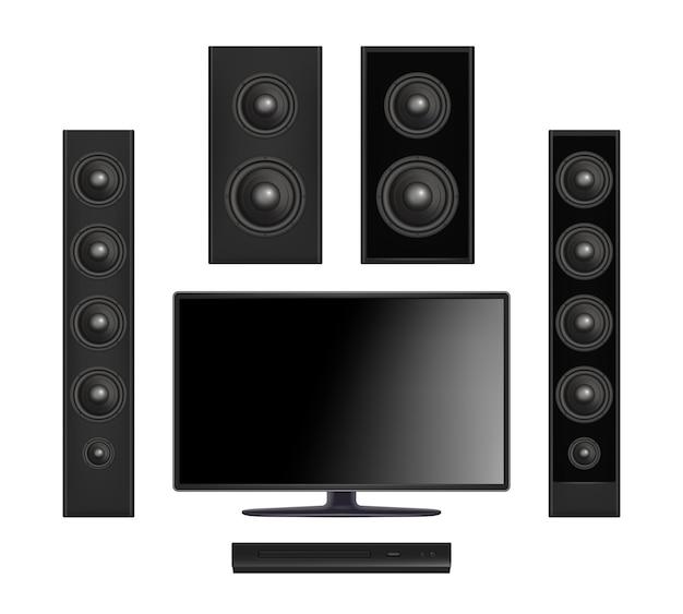 Bildschirm tv. plasma-multimedia-videosystem mit konsole und soundlautsprecher digitaler monitor realistisch