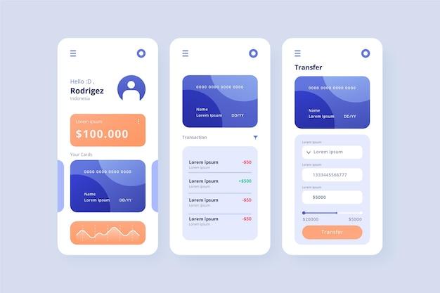 Bildschirme der banking-app-oberfläche