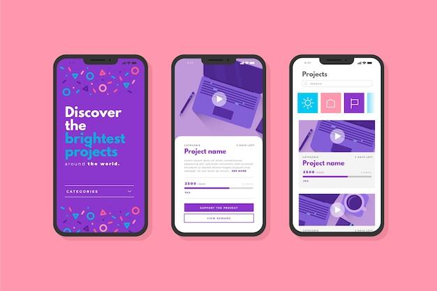 Bildschirme der crowdfunding-app-oberfläche