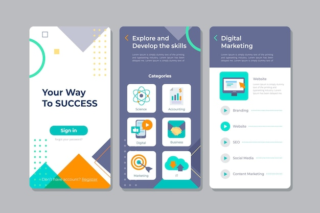 Bildschirme der kurs-app