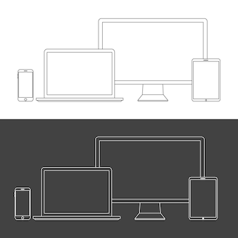 Bildschirme für elektronische geräte isoliert auf weißem hintergrund. desktop-computer, laptop, tablet und mobiltelefone mit transparenz.