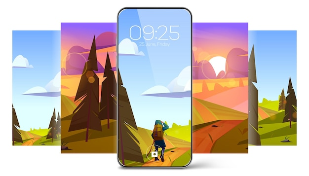 Bildschirmschoner-hintergründe für smartphone mit sommerlandschaft mit bäumen, feldern und mädchen-wanderer-vektor ...