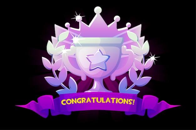 Bildschirmspiel, herzlichen glückwunsch zum goldenen gewinnerpokal für das ui-spiel. illustrationsdiamantpreis für den sieg, pokal mit krone