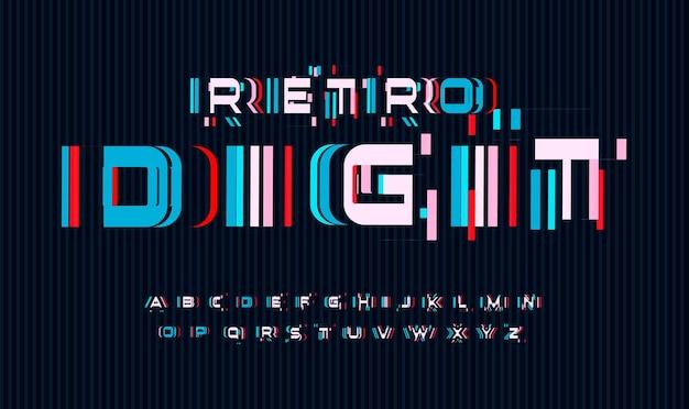 Bildschirmstörungen buchstaben gesetzt. kein signal oder schlechtes signal für vektoralphabet. led-bildschirm-rgb-fehlereffekt für schriftart. typografie-design.