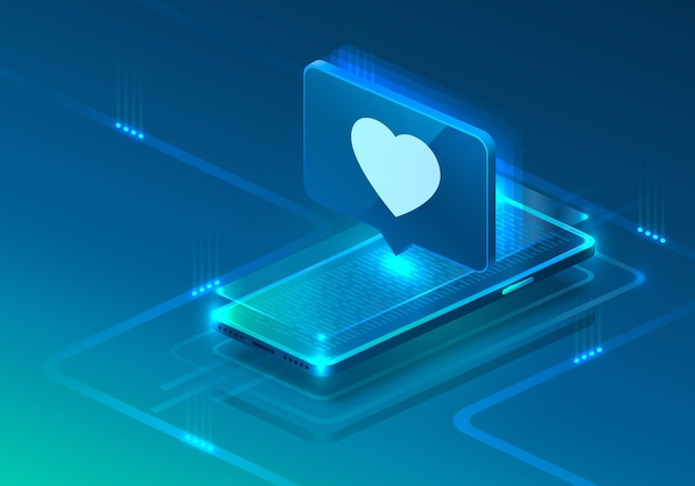 Bildschirmtelefon-neonsymbol wie herz modern. blauer hintergrund.