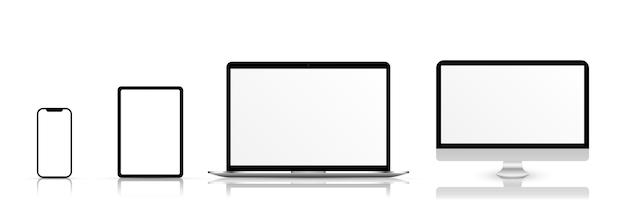 Bildschirmvektormodell modell des telefon-laptop-smartphone-monitors mit leerem bildschirm png