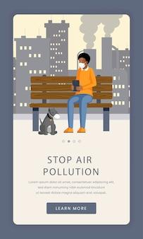 Bildschirmvorlage der app zur vermeidung von luftverschmutzung