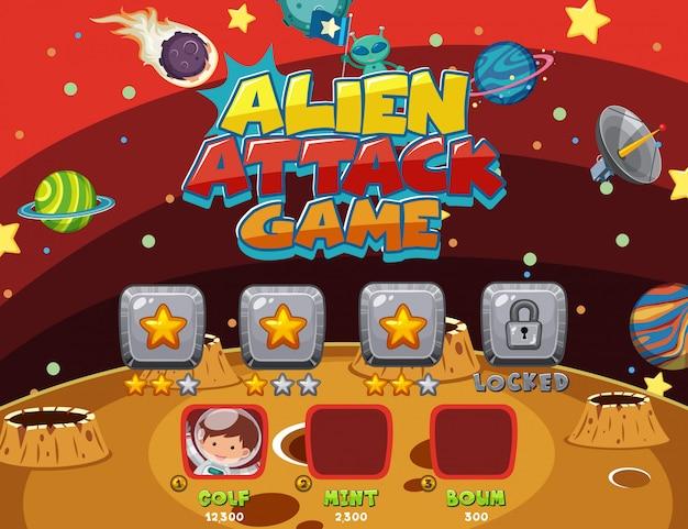 Bildschirmvorlage für computerspiel mit alien-angriffsthema