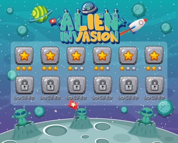 Bildschirmvorlage für computerspiel mit alien-invasion