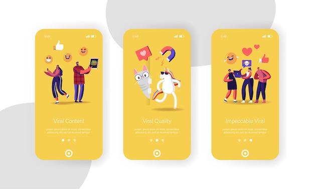 Bildschirmvorlage für die mobile app-seite für virale inhalte