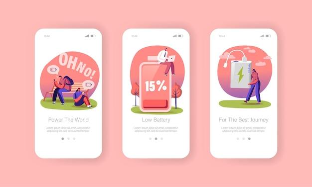 Bildschirmvorlage für mobile apps mit niedrigem batteriestand.