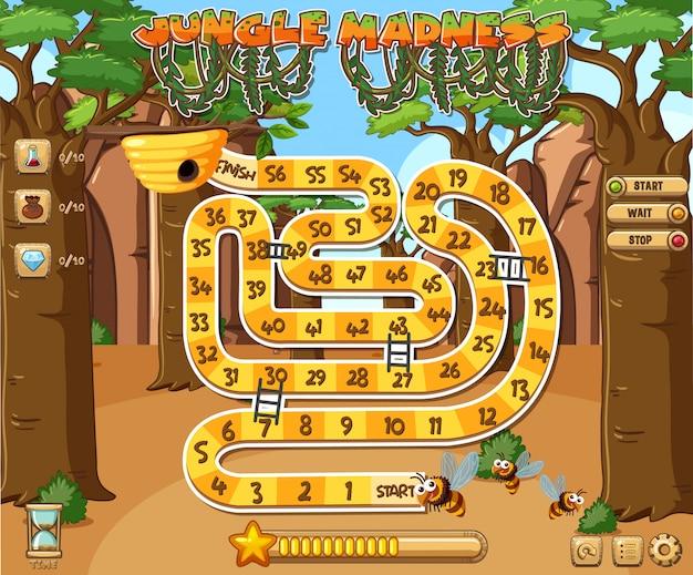 Bildschirmvorlage für spiel mit dschungelthema