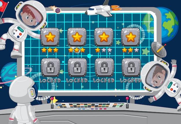 Bildschirmvorlage für weltraumthemaspiel mit astronauten