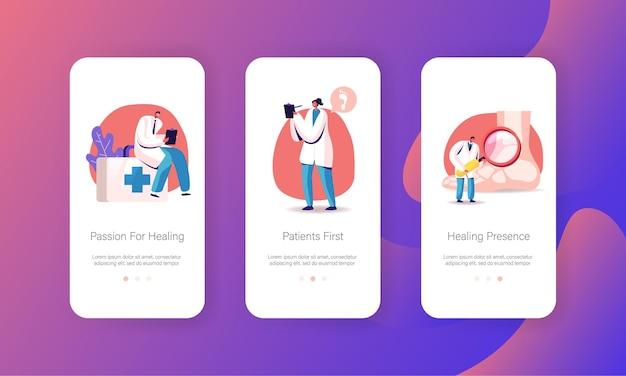 Bildschirmvorlagen für mobile apps für orthopädie und podologie im medizinischen gesundheitswesen.