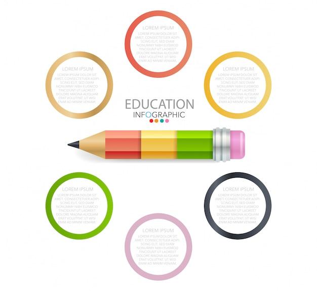 Bildung bleistift infografiken schritt option