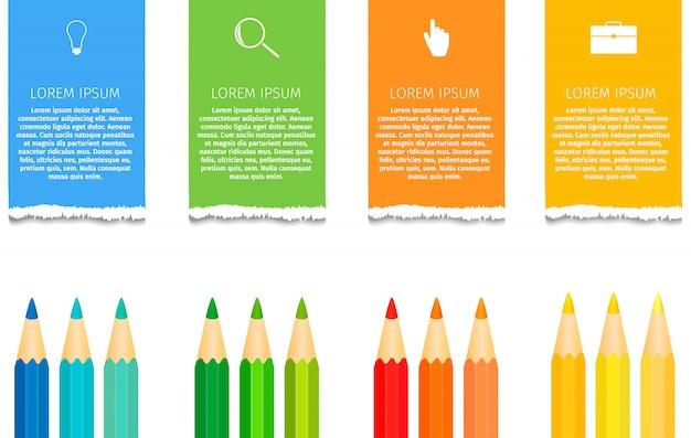 Bildung bleistift infografiken