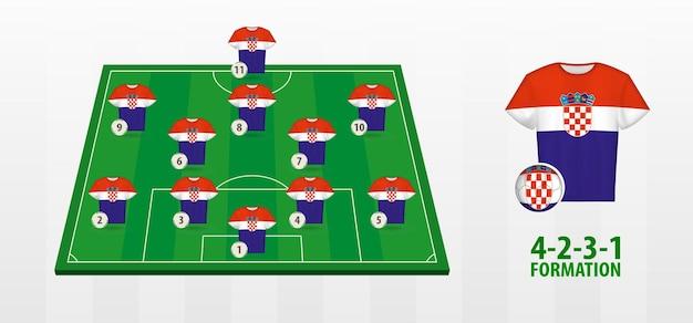 Bildung der kroatischen fußballnationalmannschaft auf dem fußballplatz.