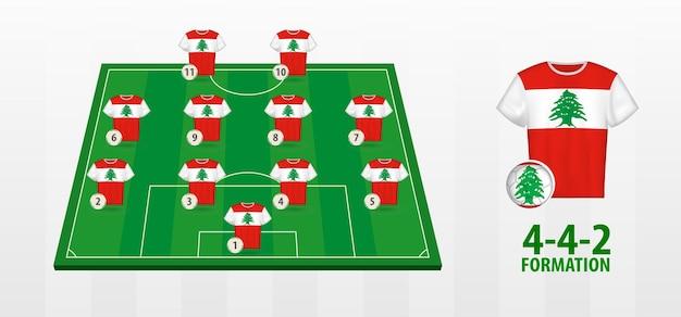 Bildung der libanesischen fußballnationalmannschaft auf dem fußballplatz