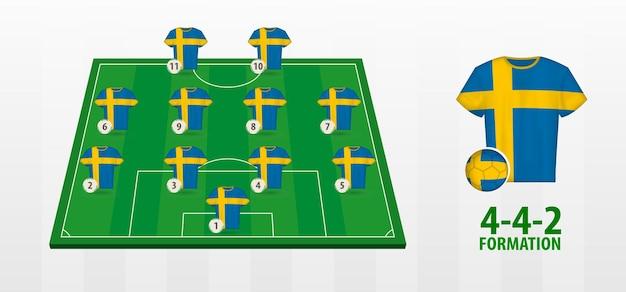 Bildung der schwedischen fußballnationalmannschaft auf dem fußballplatz
