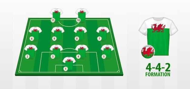 Bildung der walisischen fußballnationalmannschaft auf dem fußballplatz