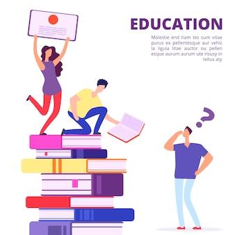 Bildung durch bücher und selbststudium vektorillustration. hilfe und unterstützung in der bildung