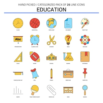 Bildung flache linie icon set
