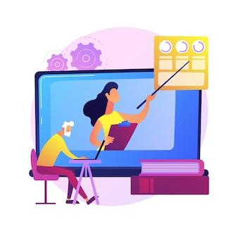 Bildung für ältere menschen. ältere leute, die online-kurse auf dem laptop ansehen und einen akademischen grad erhalten. webinar, internet-seminar.