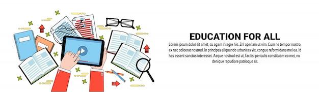 Bildung für alle web-banner-vorlage lern- und trainingskonzept