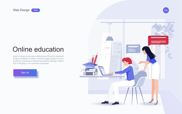 Bildung für website und landing page template.online-bildung, schulungen und kurse, lernen,