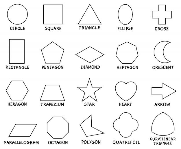 Bildung grundlegende geometrische formen mit bildunterschriften