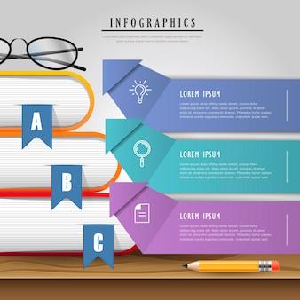 Bildung infografik design mit lesezeichen auf dem tisch
