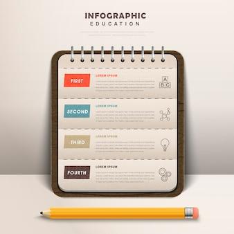 Bildung infografik design mit notizbuch mit einem bleistift