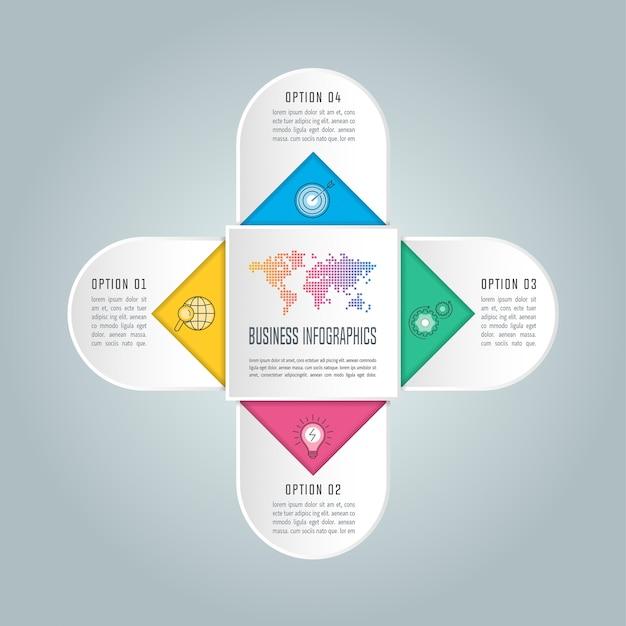 Bildung infografik vorlage 4 schritt option.