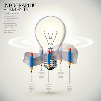 Bildung infografik vorlage design mit bleistift und glühbirne elemente