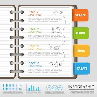 Bildung infografik vorlage design mit notizbuch und tags