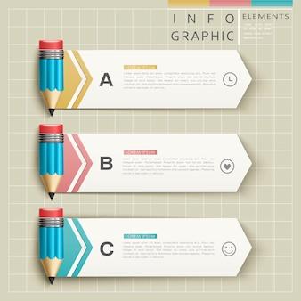 Bildung infografik vorlage design mit stiften element
