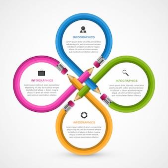 Bildung infografiken vorlage mit bleistift.