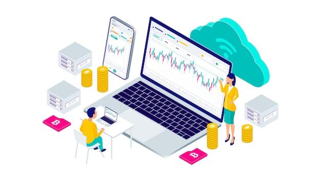 Bildung kryptowährung bitcoin blockchain mining-technologie internet iot sicherheit mobile dashboard isometrische 3d-flache illustration.