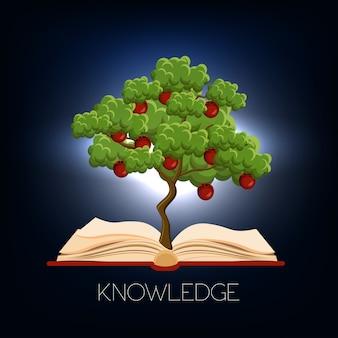Bildung, lernkonzept mit dem apfelbaum, der vom offenen buch wächst