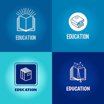 Bildung-logo-set. buchen sie weiße symbole gesetzt