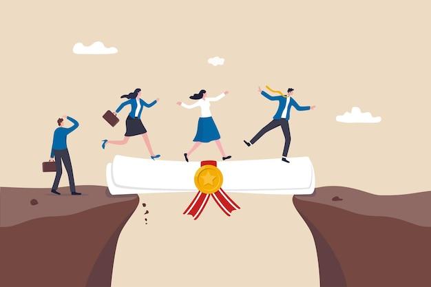 Bildung oder kaufmännischer abschluss, um karrierewachstum, fähigkeiten oder wissen für chancen, schulungen oder diplomkonzepte zu unterstützen, geschäftsmann und frau gehen auf bildungsgrad-scroll als brücke, um die lücke zu überqueren.