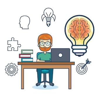 Bildung online mann schreibtisch laptop