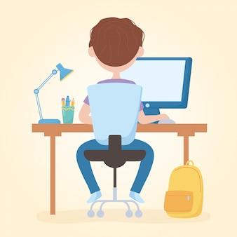 Bildung online-student junge sitzen studieren in laptop mit rucksack