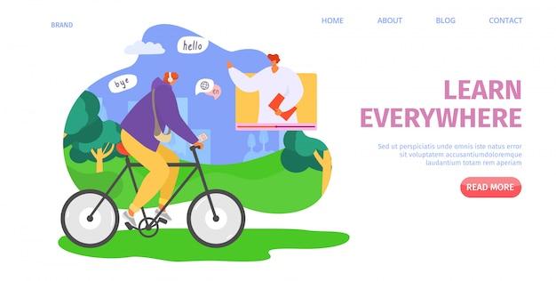 Bildung online, überall lernen, illustration. audiokurs in der internetschule, sprachkenntnisse für schüler