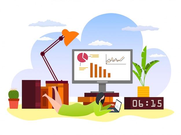 Bildung online zu hause konzept mit computer und studentin lernen mit laptop in internet-illustration. technologie, wissensstudium und online-lernen. fernunterricht.
