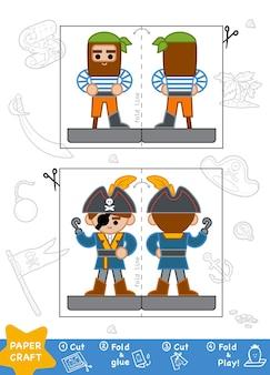 Bildung papierhandwerk für kinder, piraten. verwenden sie schere und kleber, um das bild zu erstellen.