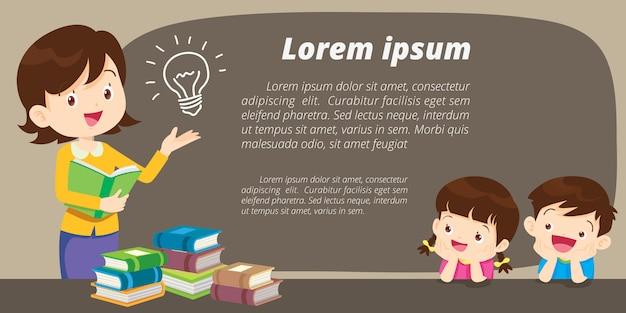 Bildung rollen oben fahnenstandschablone, der lernende lehrer und student, schulaktivitäten