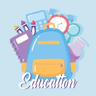 Bildung rucksack uhr buch buntstifte schule grundschule cartoon ikone vektor-illustration