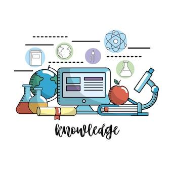 Bildung schulwissen und utensilien design